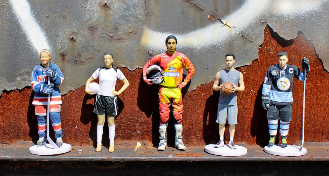 3d printed sports figures of players of ice hockey, basketball, football, racing